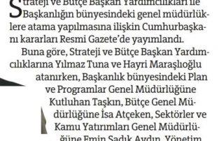 Strateji ve Bütçe Başkanlığına ait atama kararları Resmi Gazete'de - Yeni Birlik - 17.08.2018