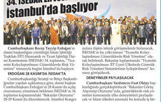 34.İSEDAK Zirvesi İstanbul'da Başlıyor-Yeni Akit - 26.11.2018
