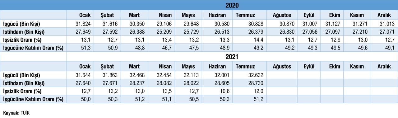 Temel İşgücü Göstergeleri Temmuz 2021 Verileri Tablosu